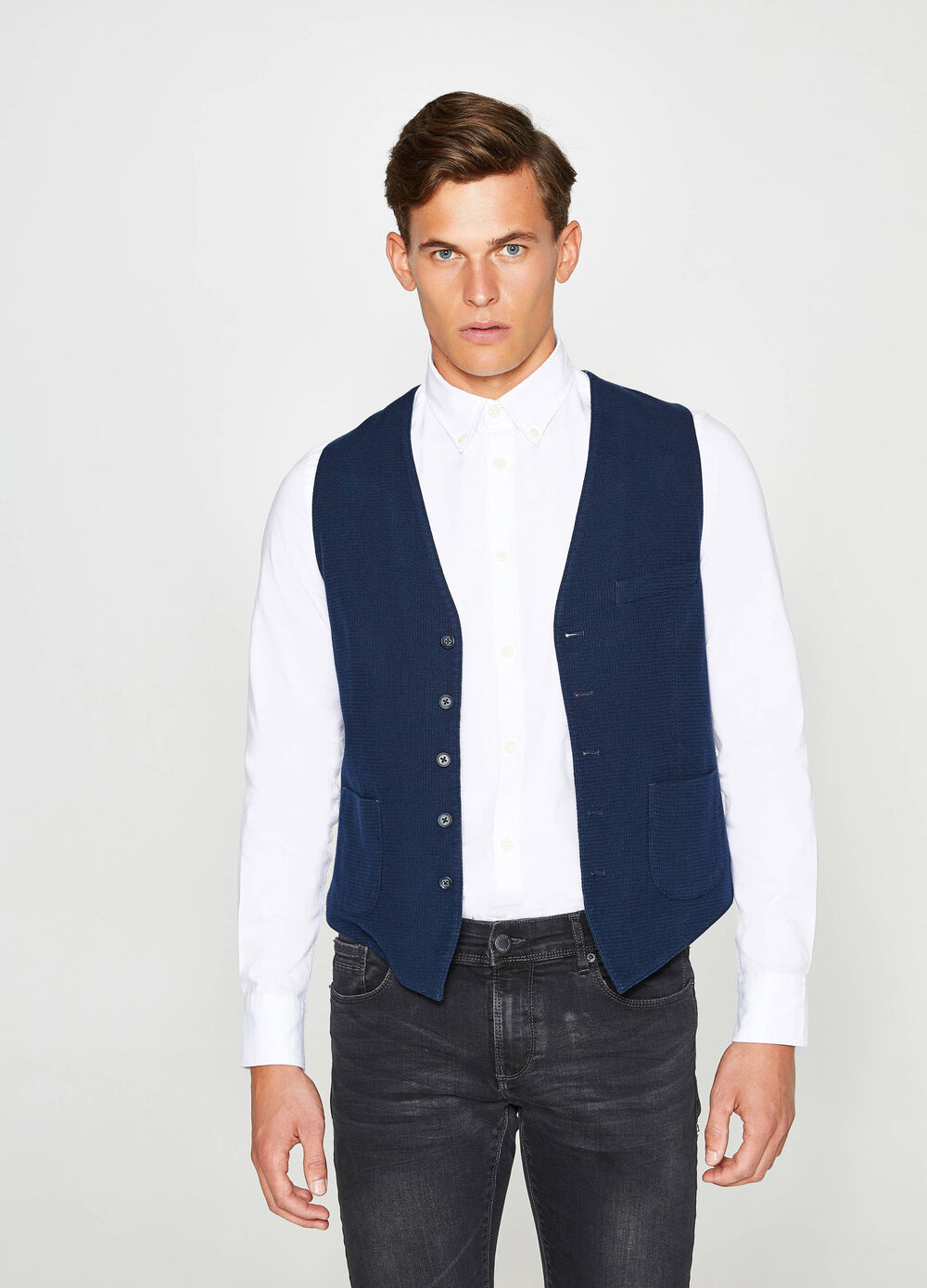 Cotton gilet with raised weave
