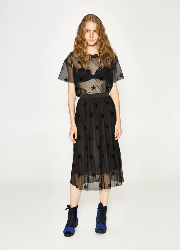 Tulle longuette skirt with star pattern