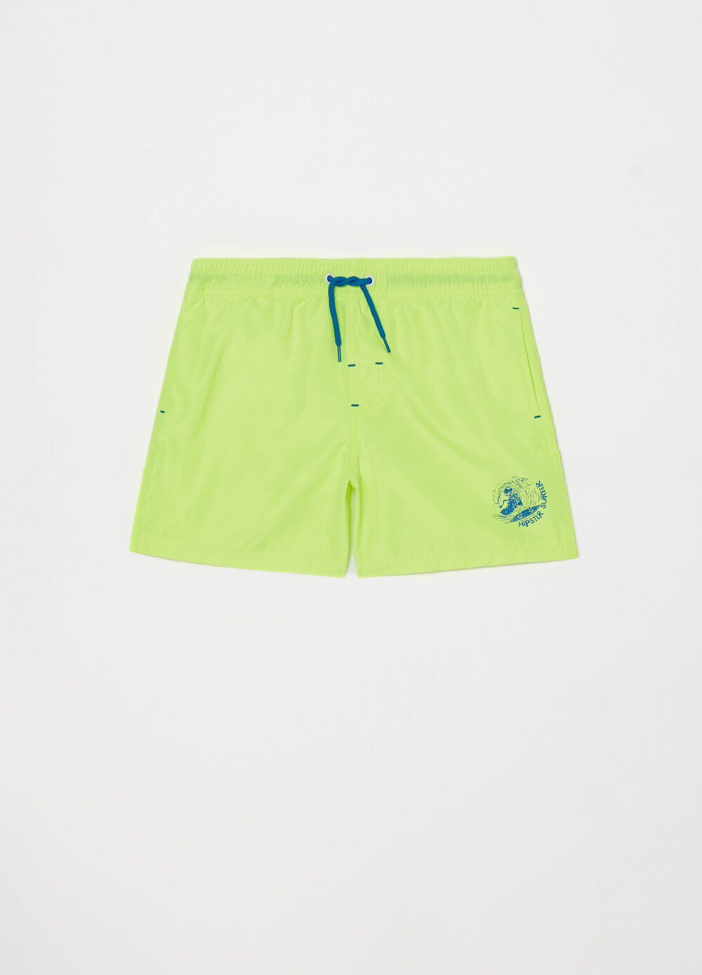 Beach shorts with pockets, drawstring and print