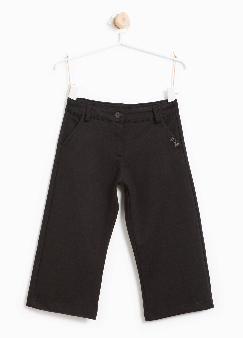 Dolid colour viscose crop trousers.
