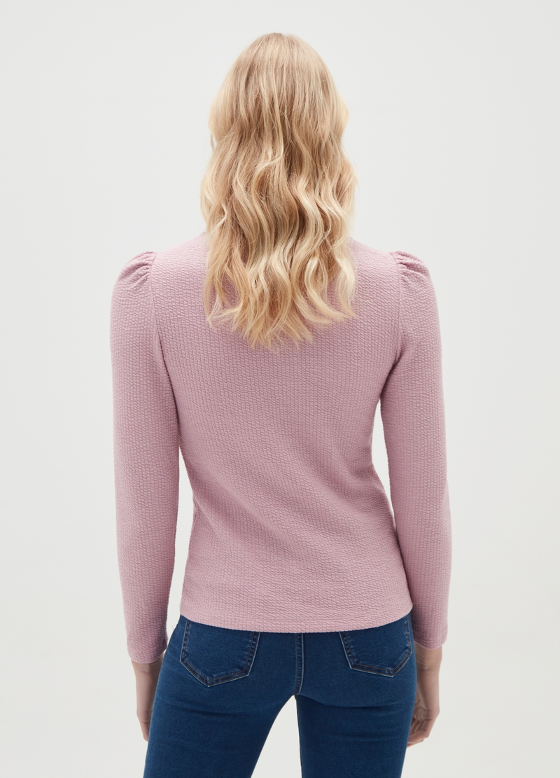 Ribbed T-shirt with puff shoulders image number null