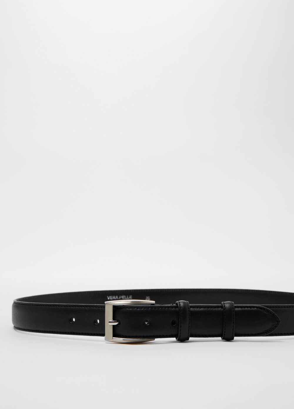 Real leather belt with square buckle