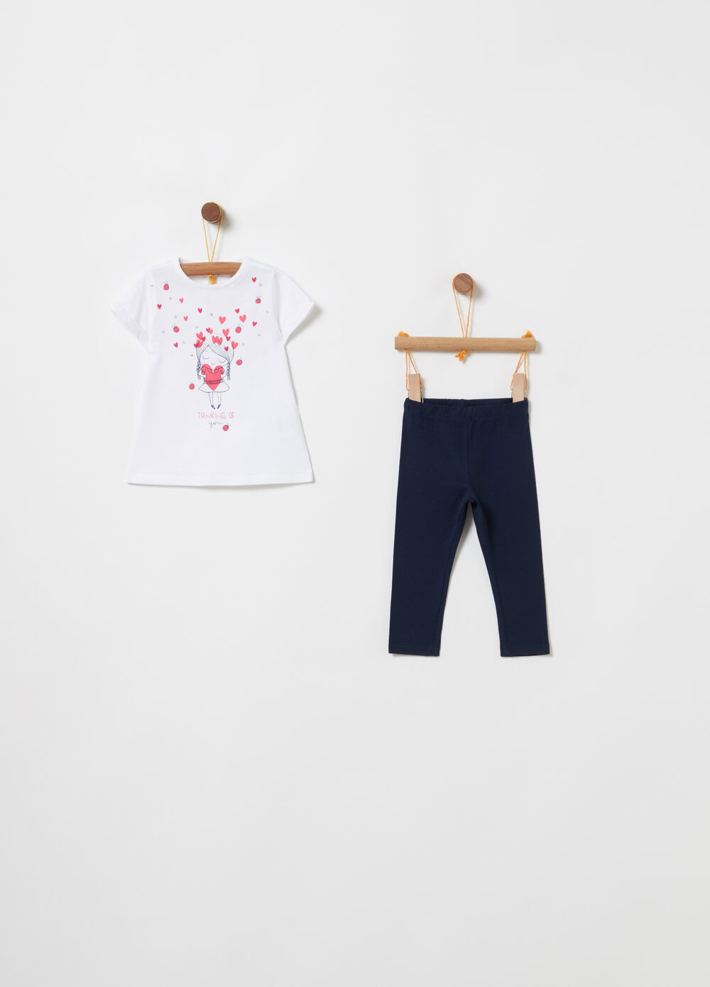 Jogging set with T-shirt and leggings with print