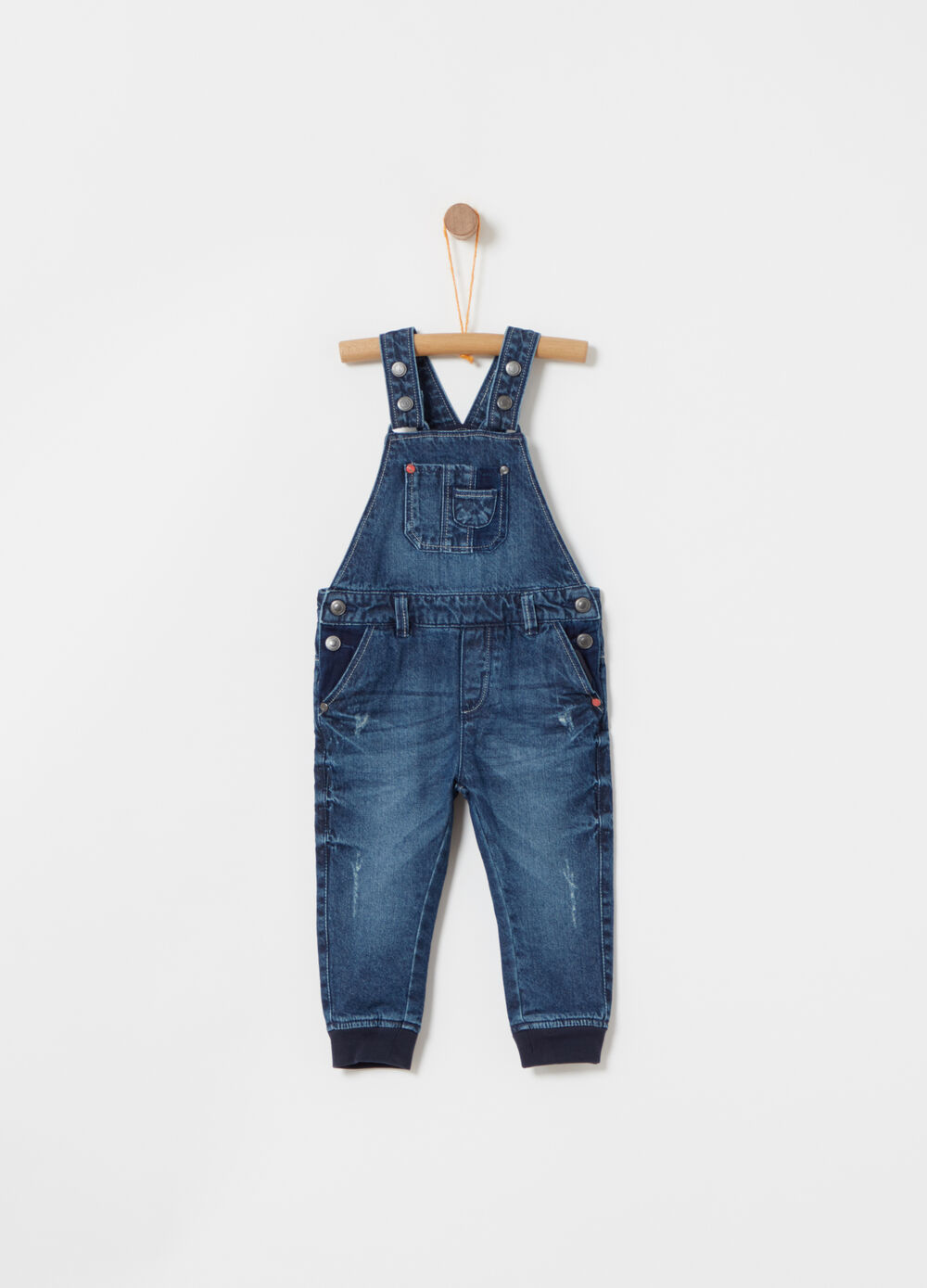 Regular-fit denim dungarees with worn effect