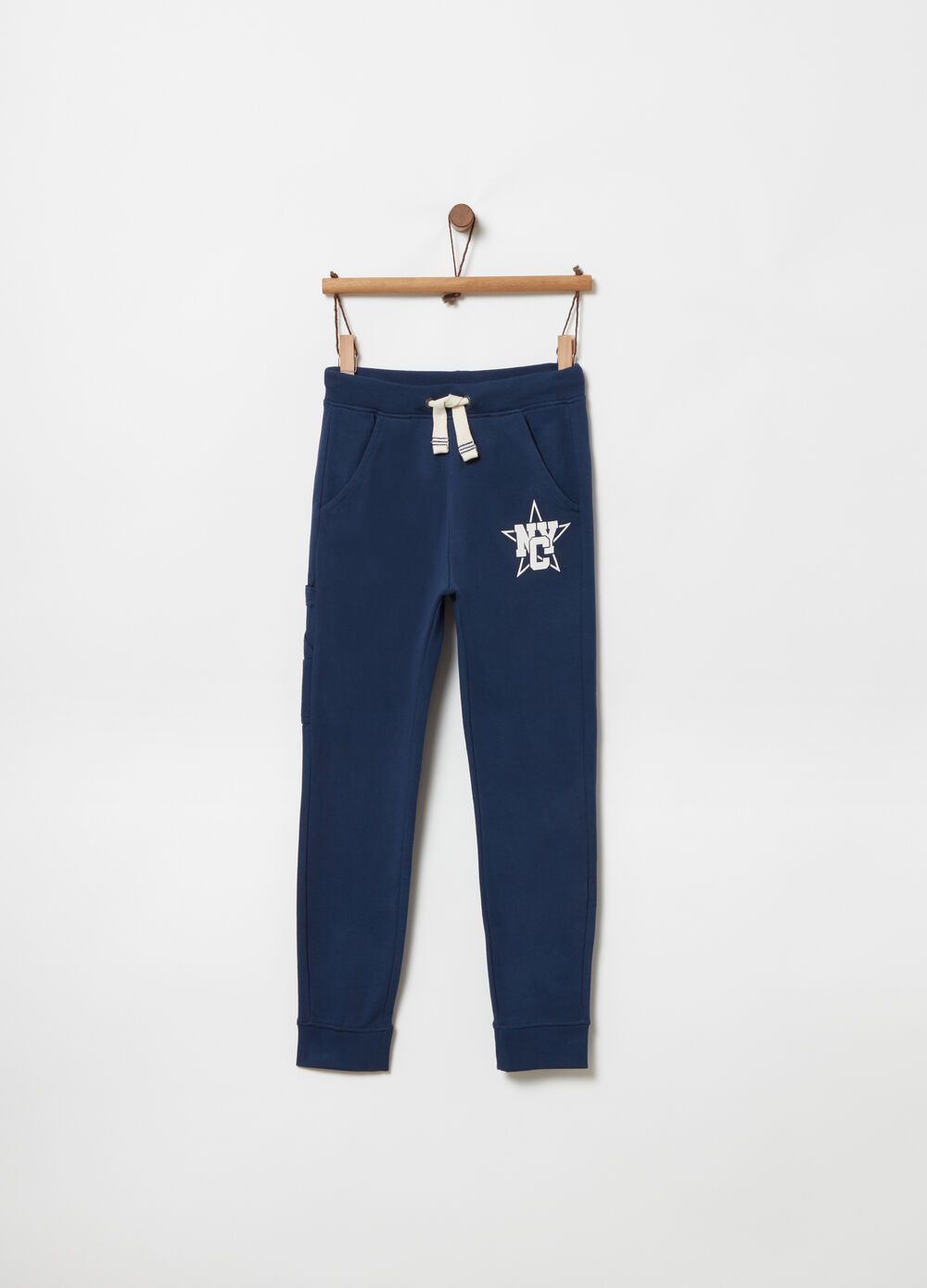 Pantaloni regular fit coulisse e stampa