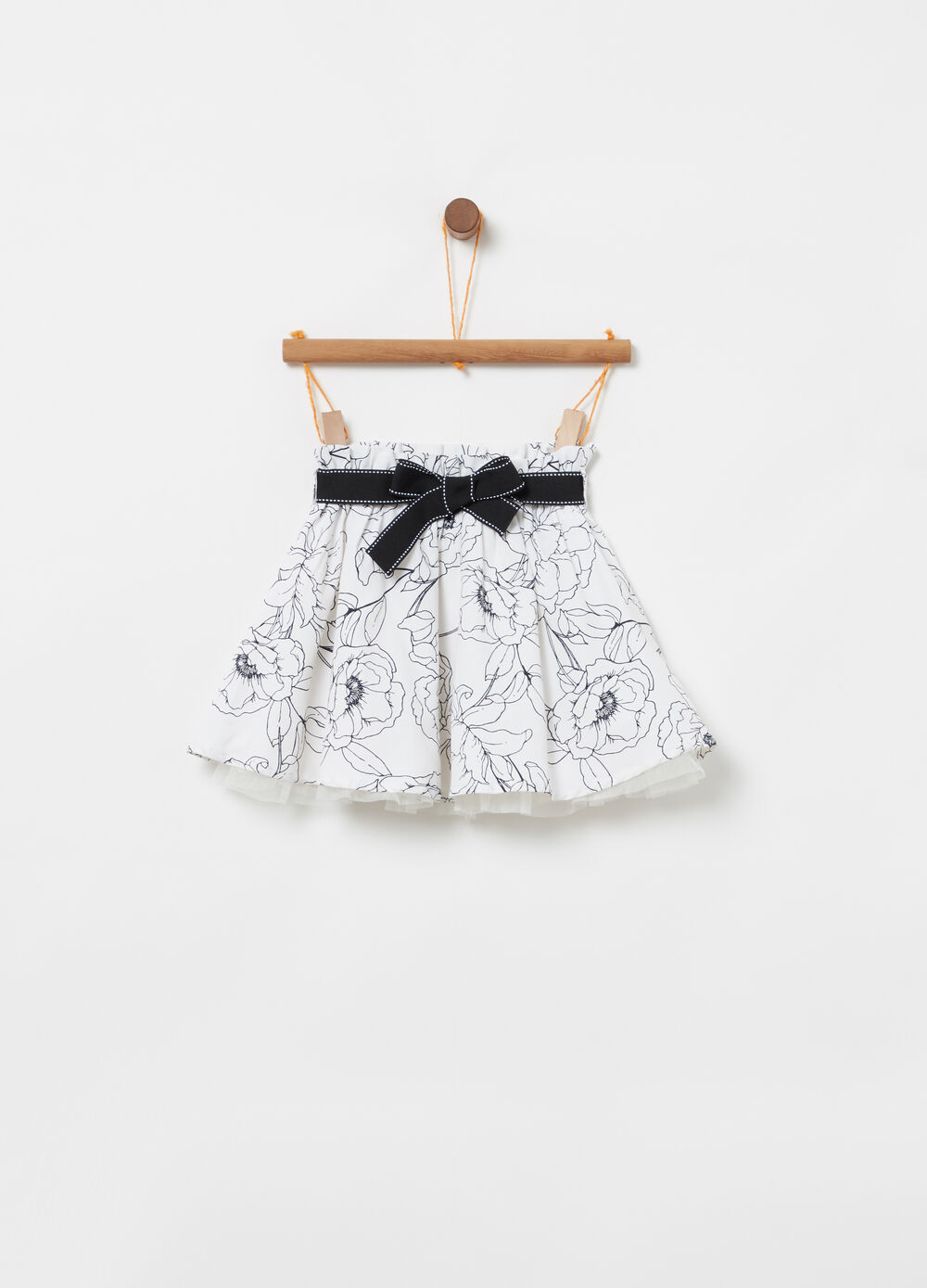 Skirt with floral sash and elasticated waistband