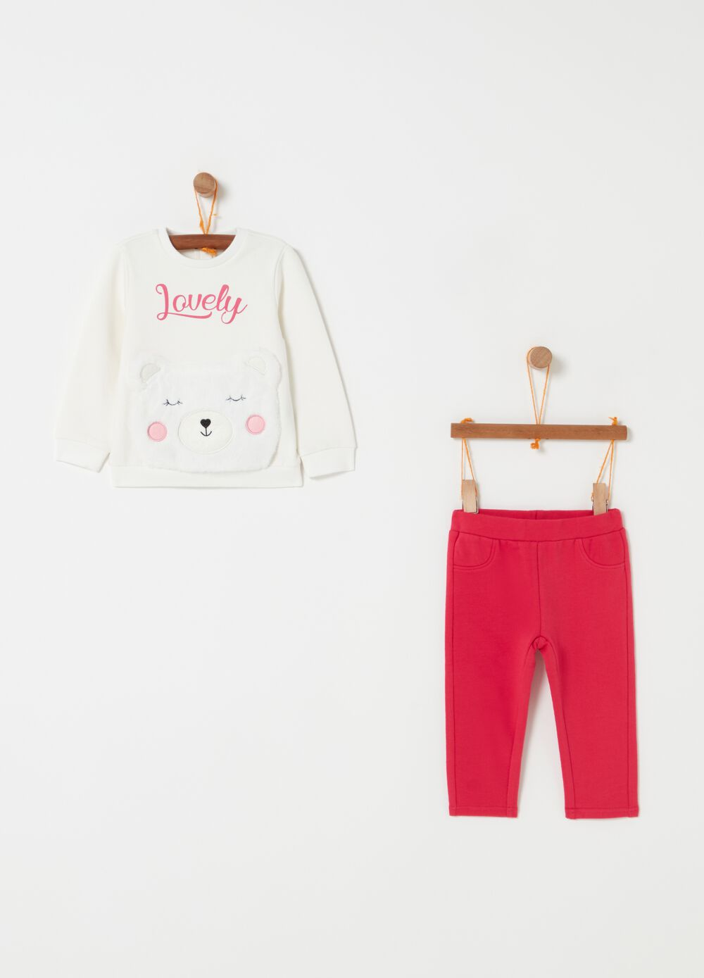 Sweatshirt and trousers jogging set with teddy bear