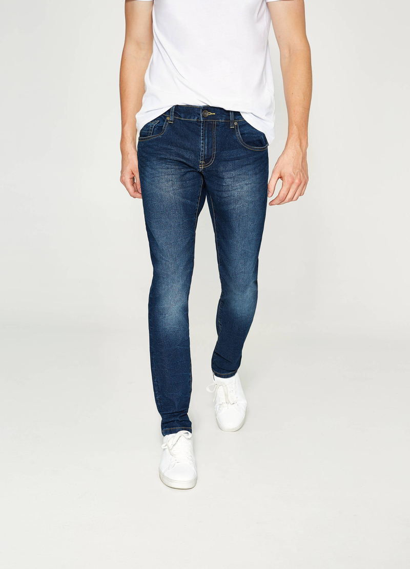 Used-effect slim-fit stretch jeans image number null