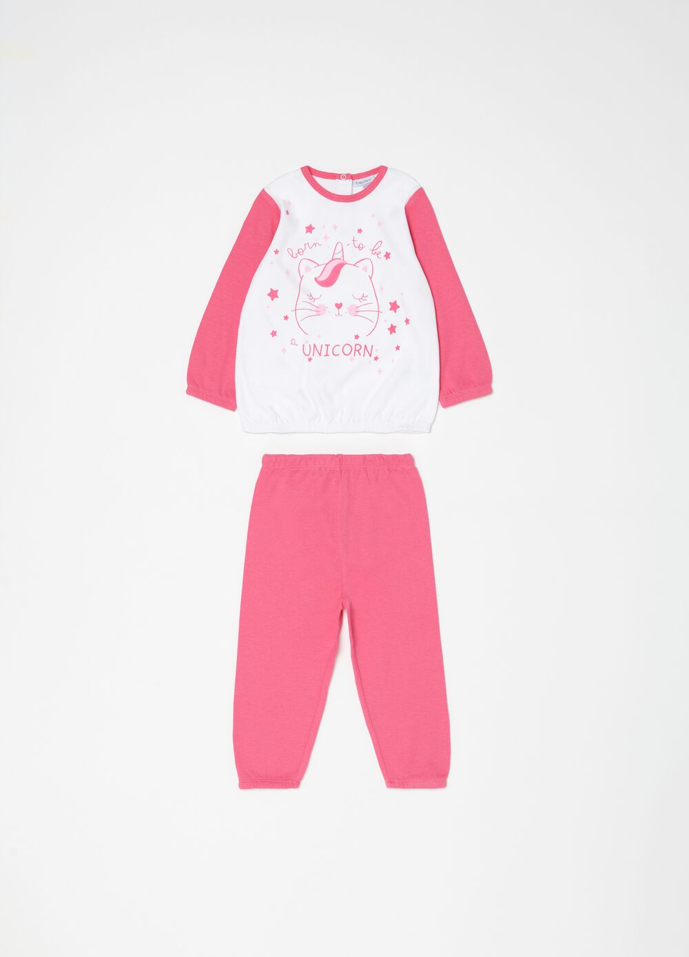 Pyjama top and trousers with print
