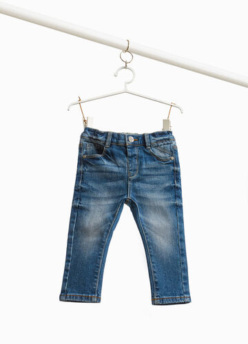 Used-effect stretch jeans with whiskering