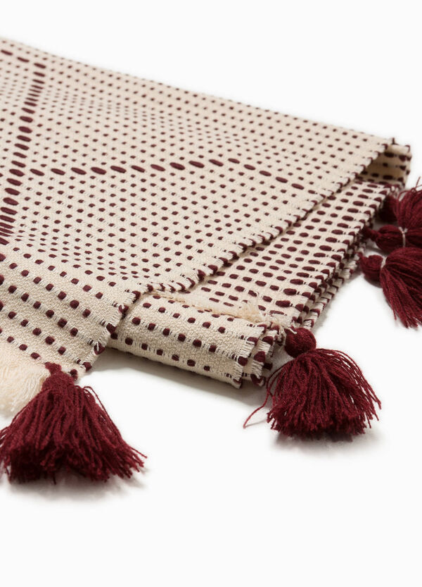Two-tone scarf with tassels
