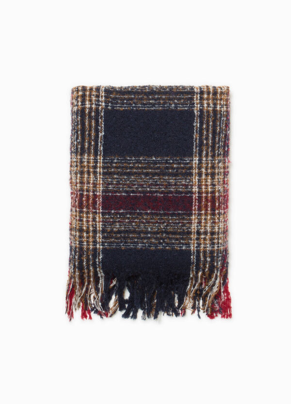 Check scarf with fringed ends