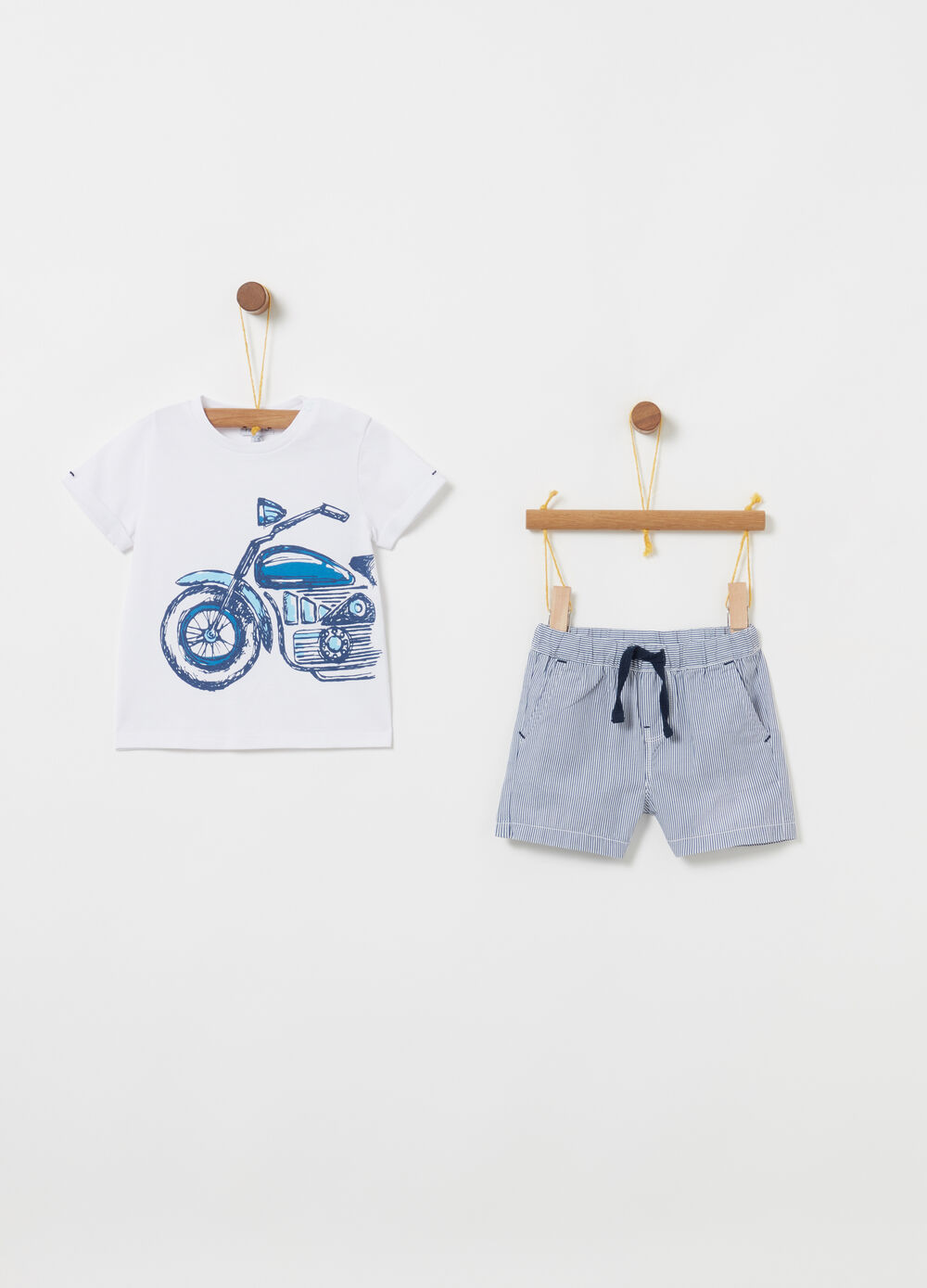 Jogging set t-shirt e shorts biocotton righe