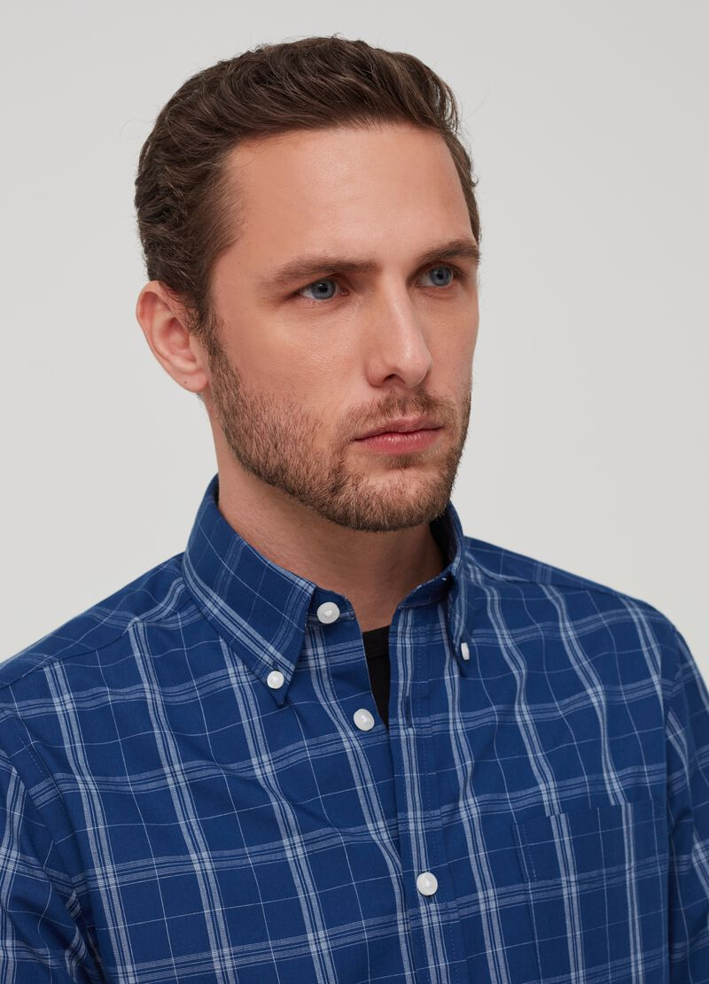 Details about  /Ex Store Grid Check Short Sleeved Shirt with Breast Pocket
