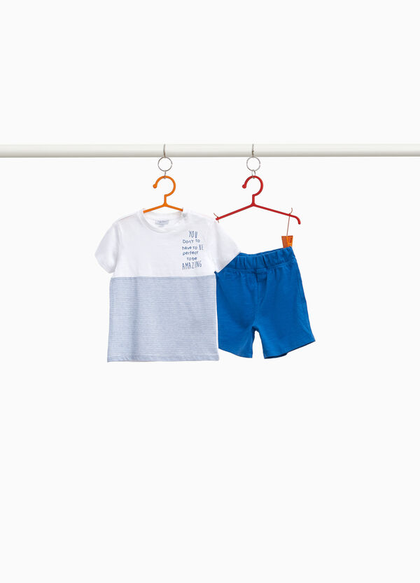 100% cotton outfit with stripes and lettering