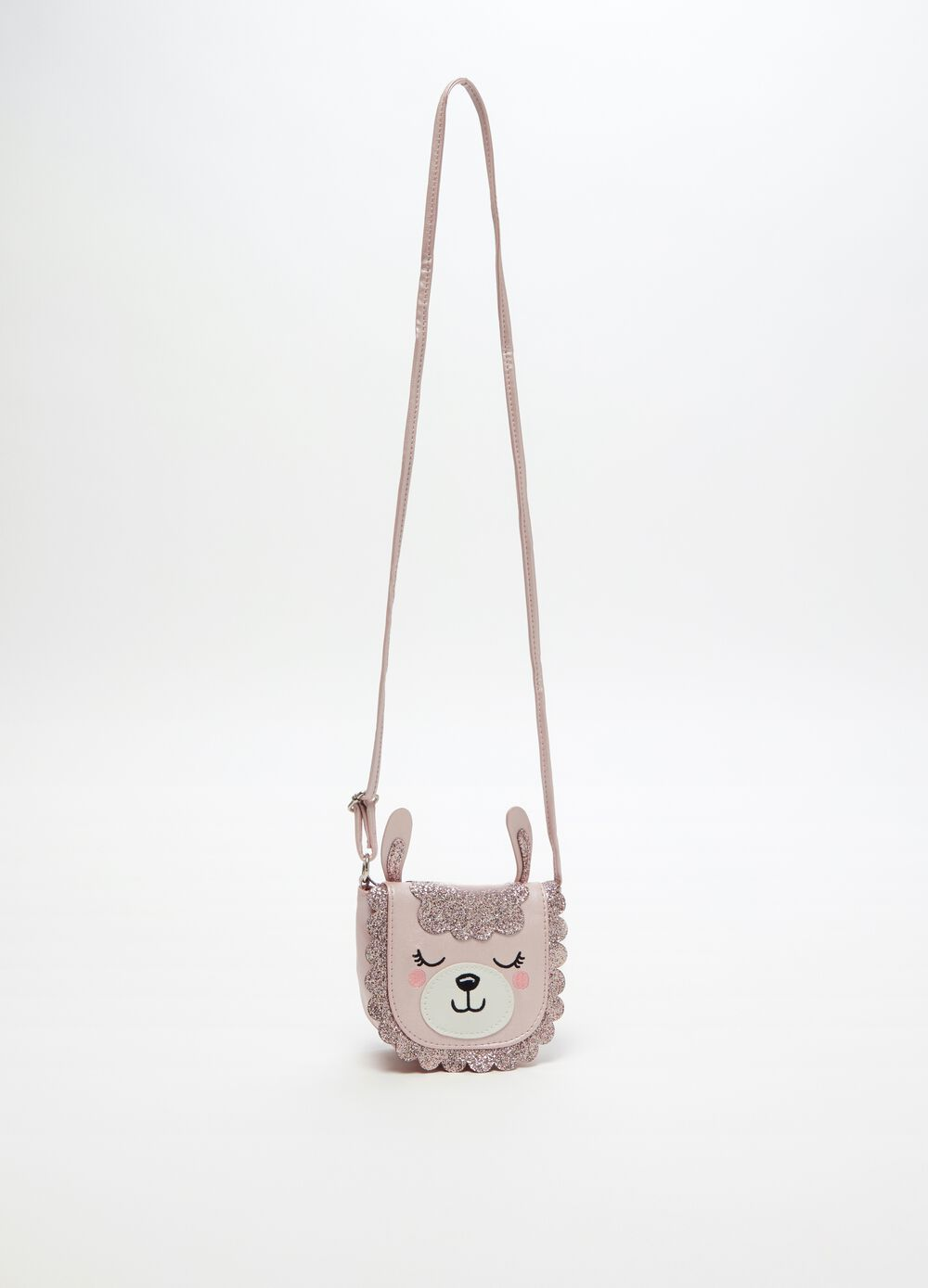 Glitter shoulder bag with alpaca motif