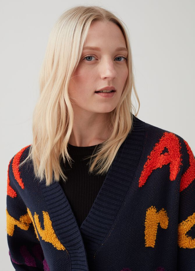 Knitted cardigan with embroidered lettering