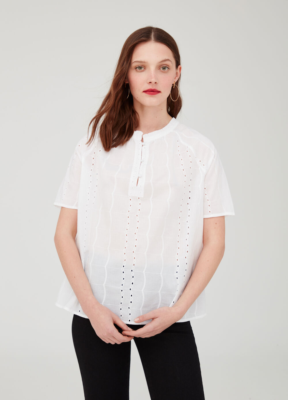 Solid colour openwork cotton blouse