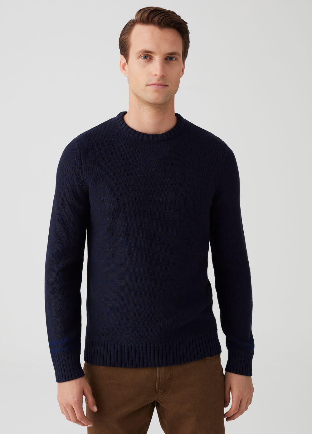 Knitted pullover with round neck and ribbing