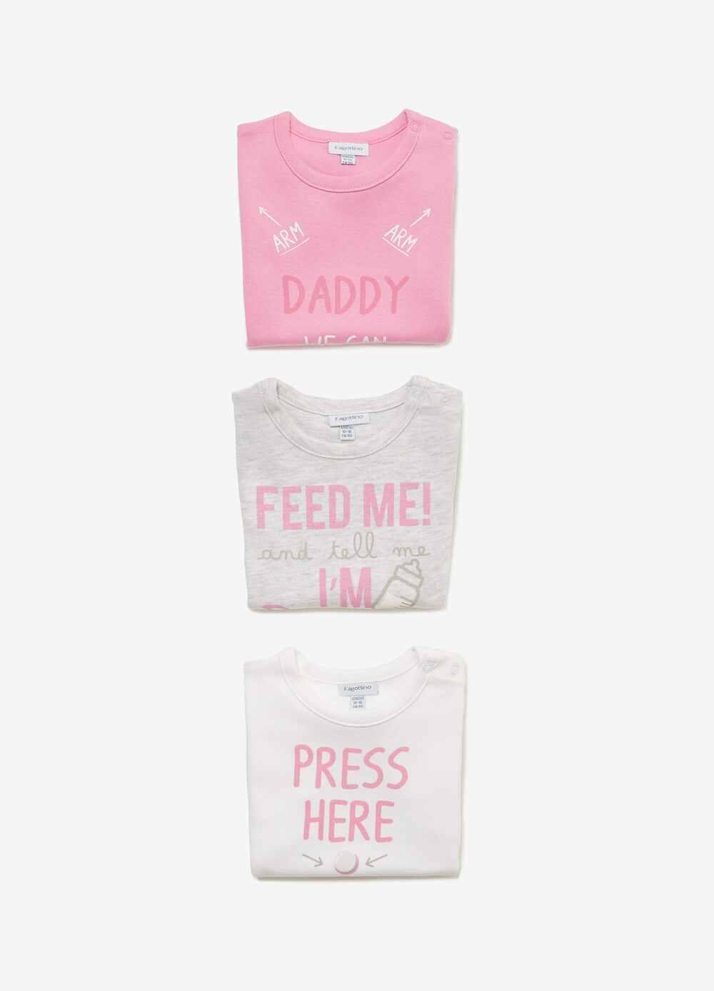 Three-pack bodysuits in 100% cotton with print