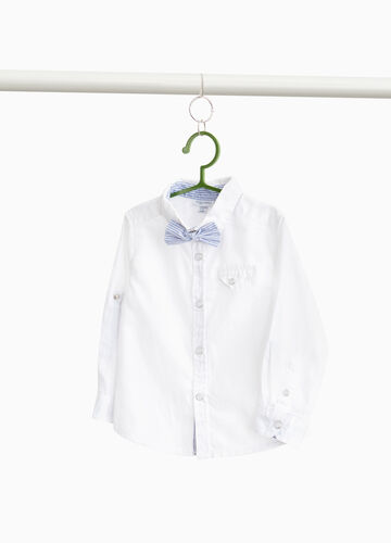 100% cotton shirt with striped bow tie