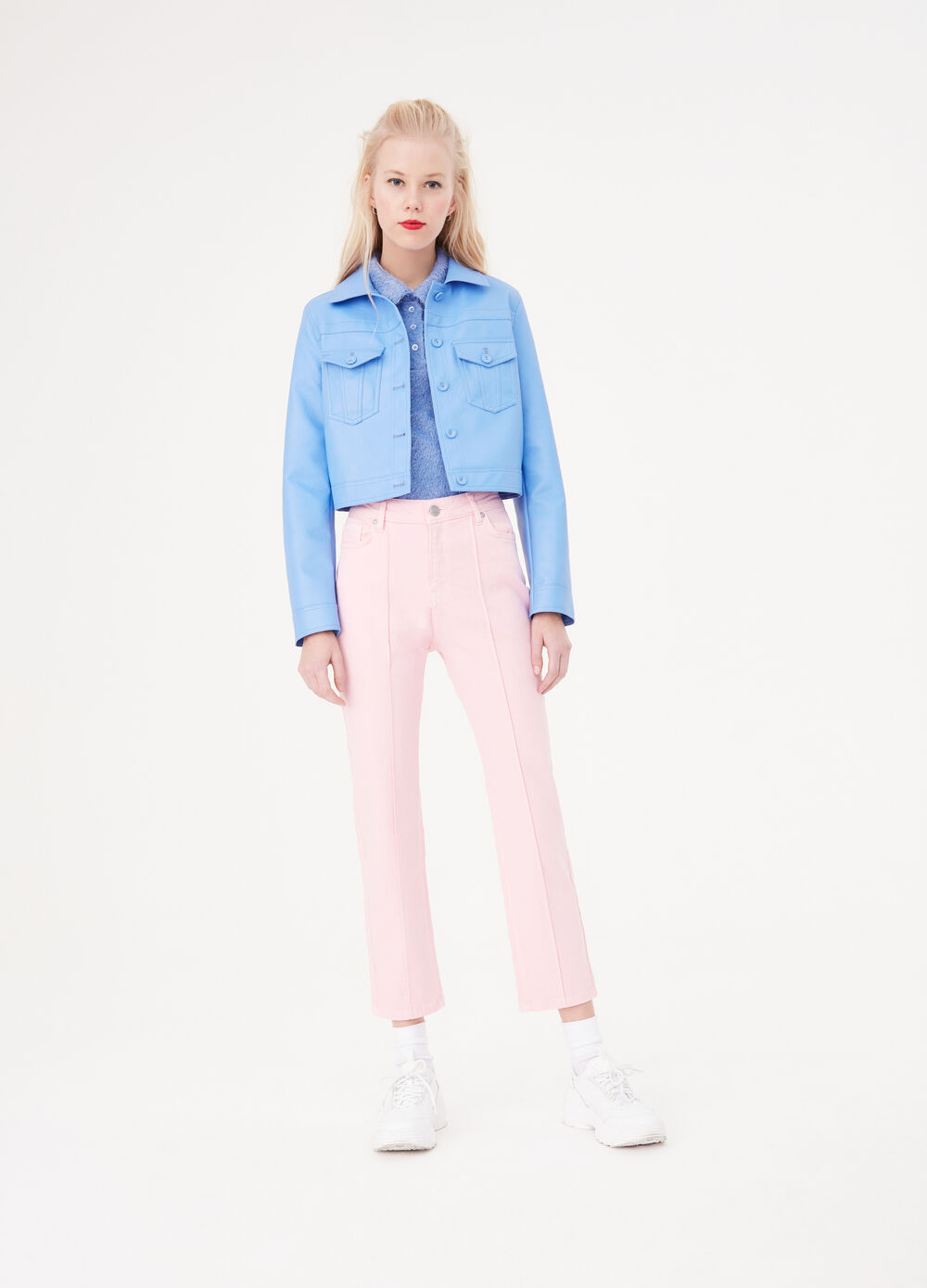 Solid colour stretch mum-fit jeans with crease