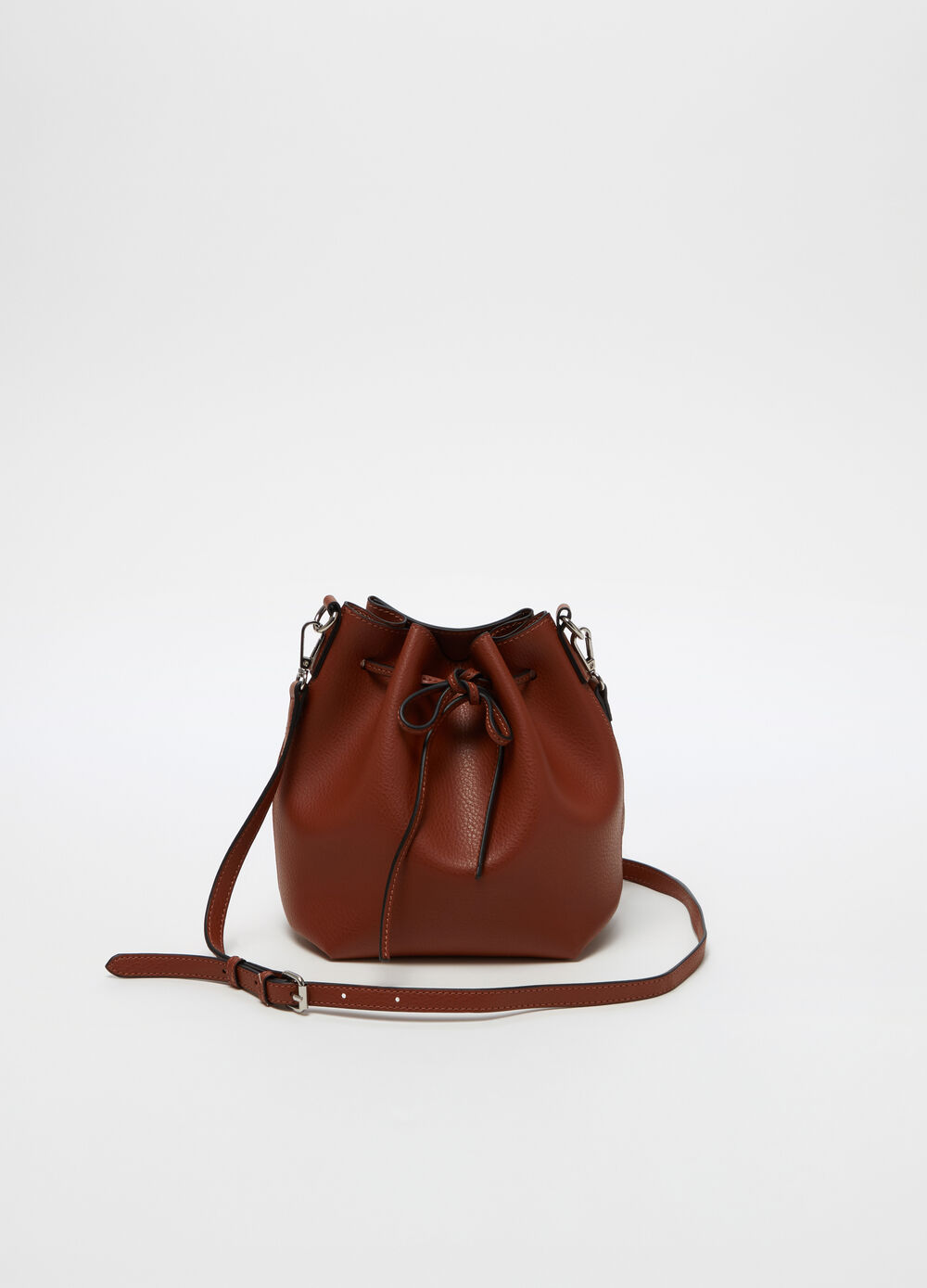 Leather-effect crossbody bucket bag