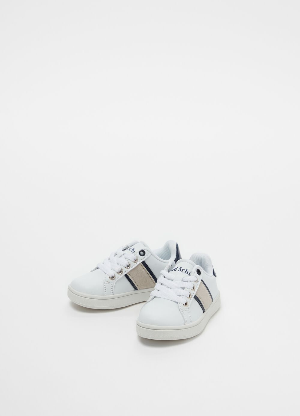 Lace-up sneakers with lettering print