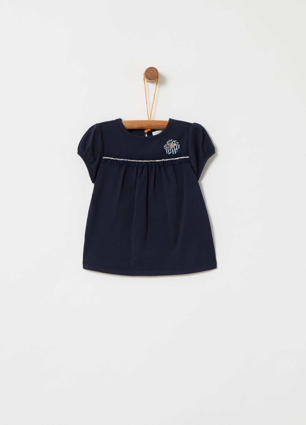 T-shirt with tulle trim and diamantés