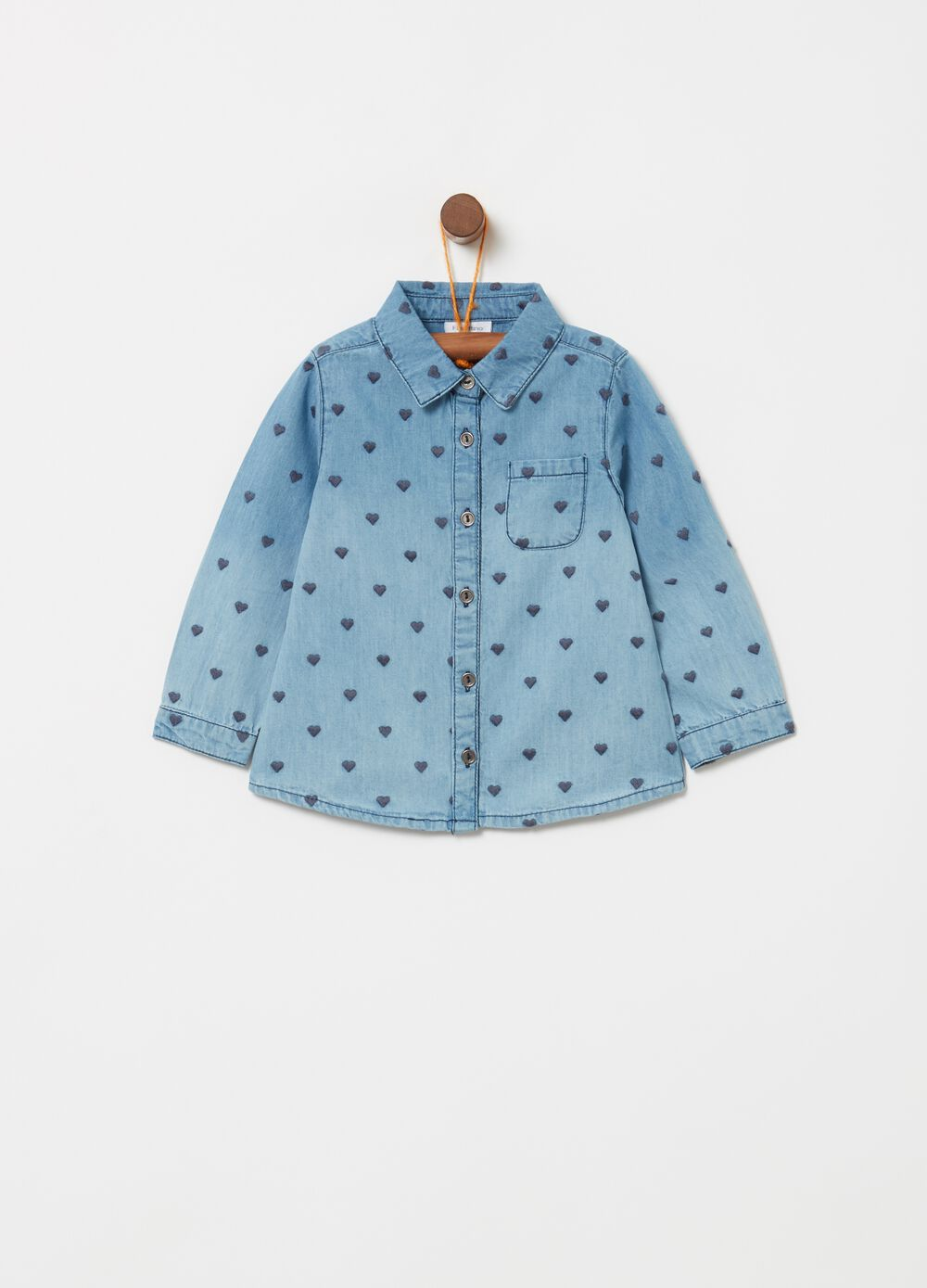 Denim shirt with pocket and heart embroidery