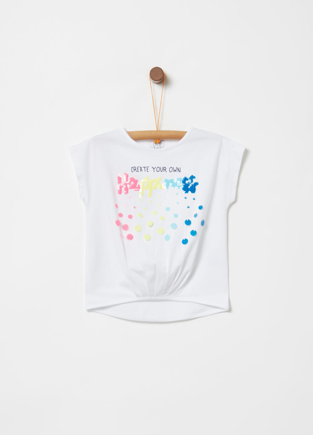Stretch biocotton T-shirt with sequins and print