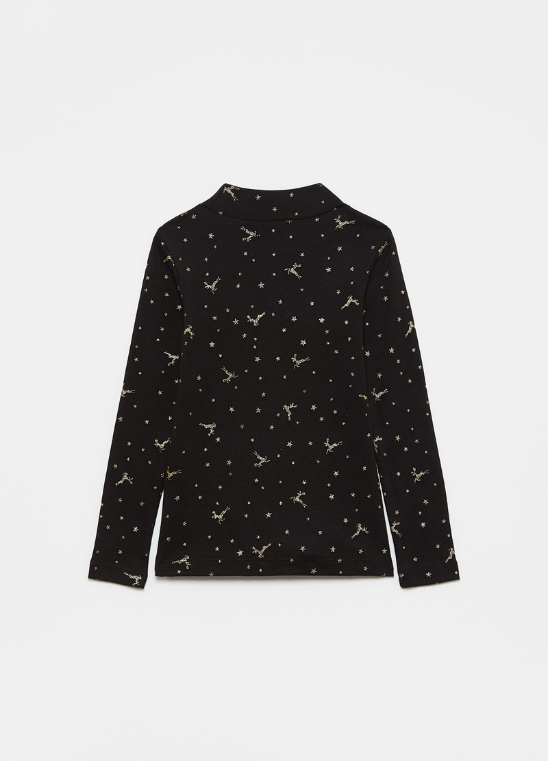 T-shirt with all-over stars and reindeer print image number null