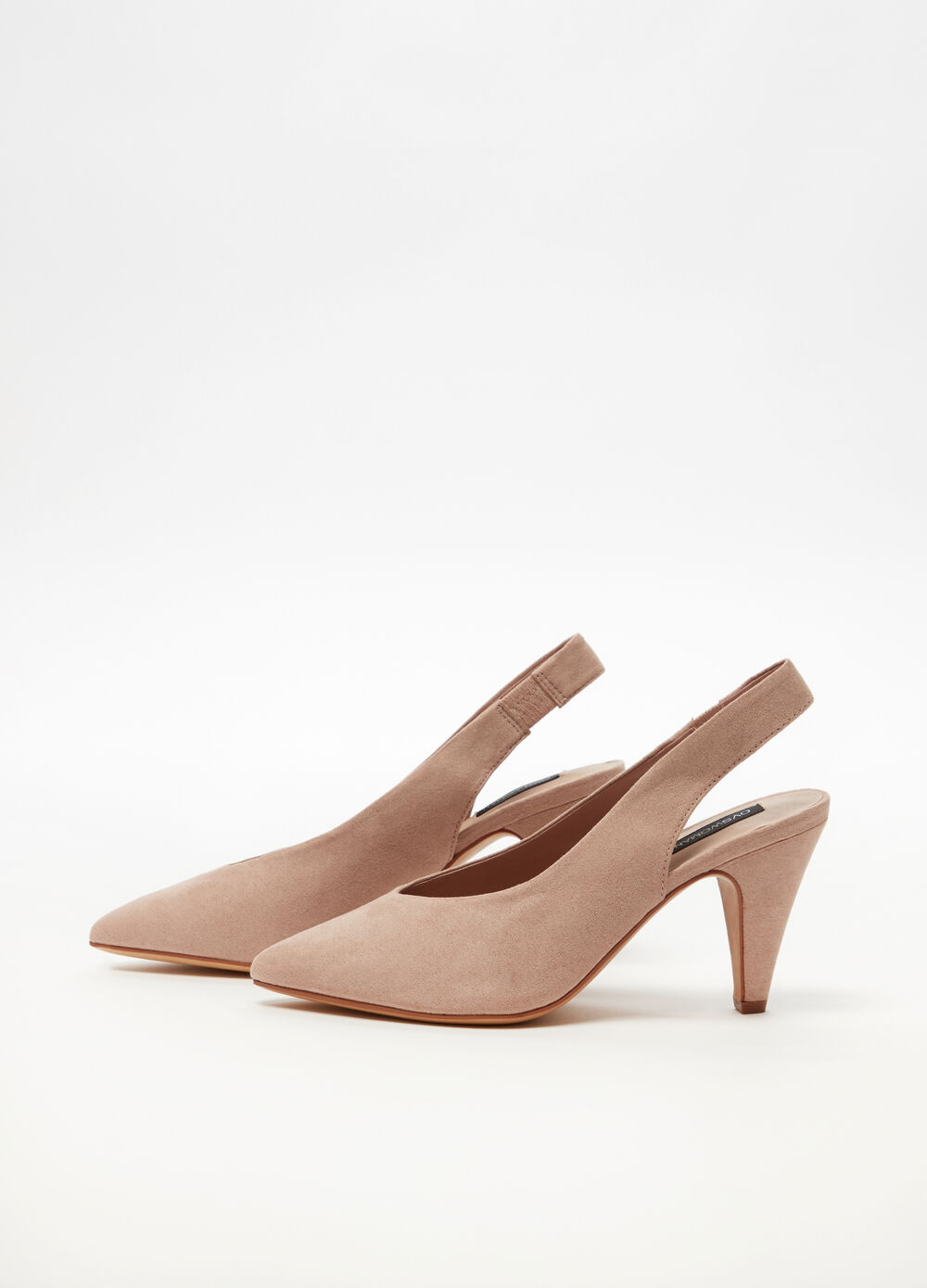 Slingback with elastic side and conical heel
