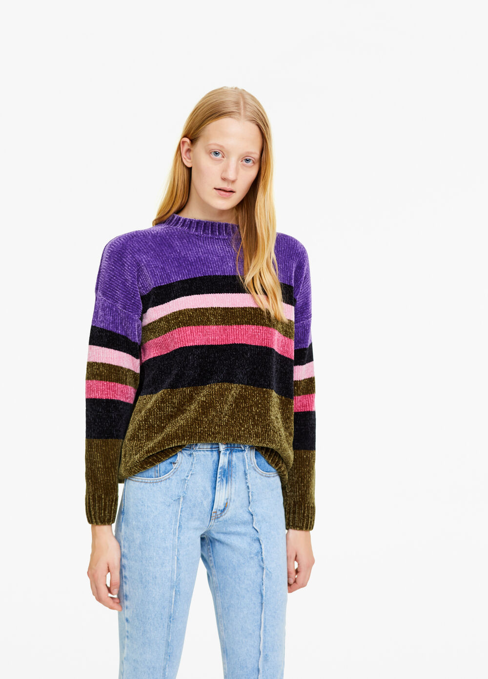 Knitted chenille pullover with striped pattern