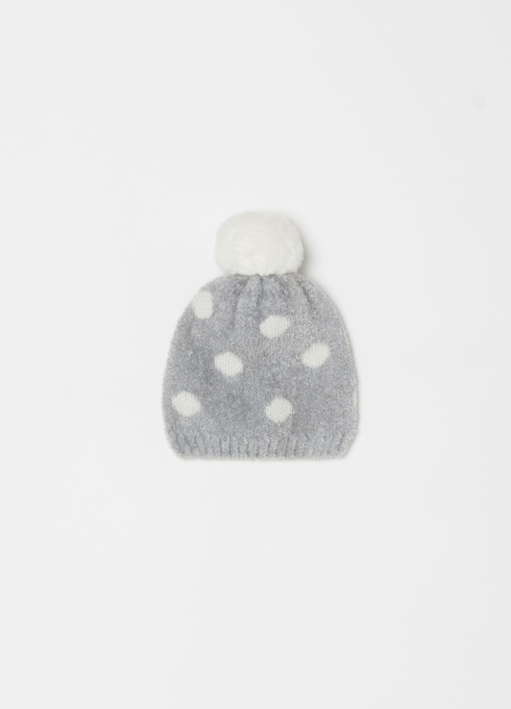 Chenille hat with pompom and polka dots