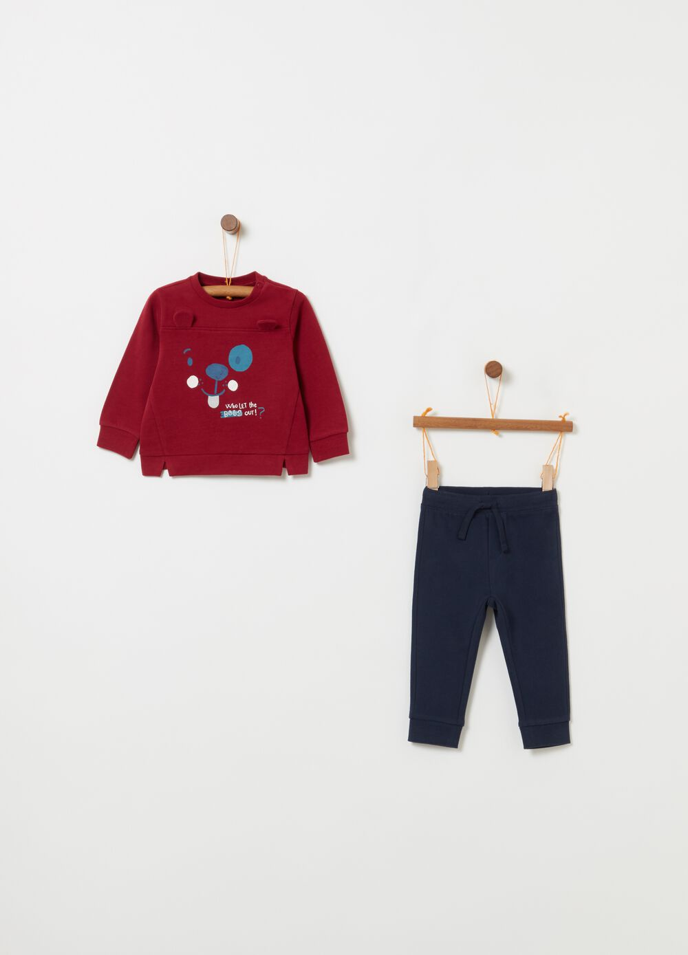 100% cotton jogging set with puppy print