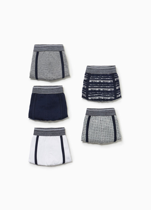 Five-pack solid colour and patterned boxers