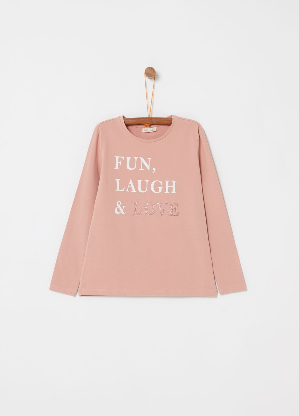 Long-sleeved T-shirt with glitter and lettering