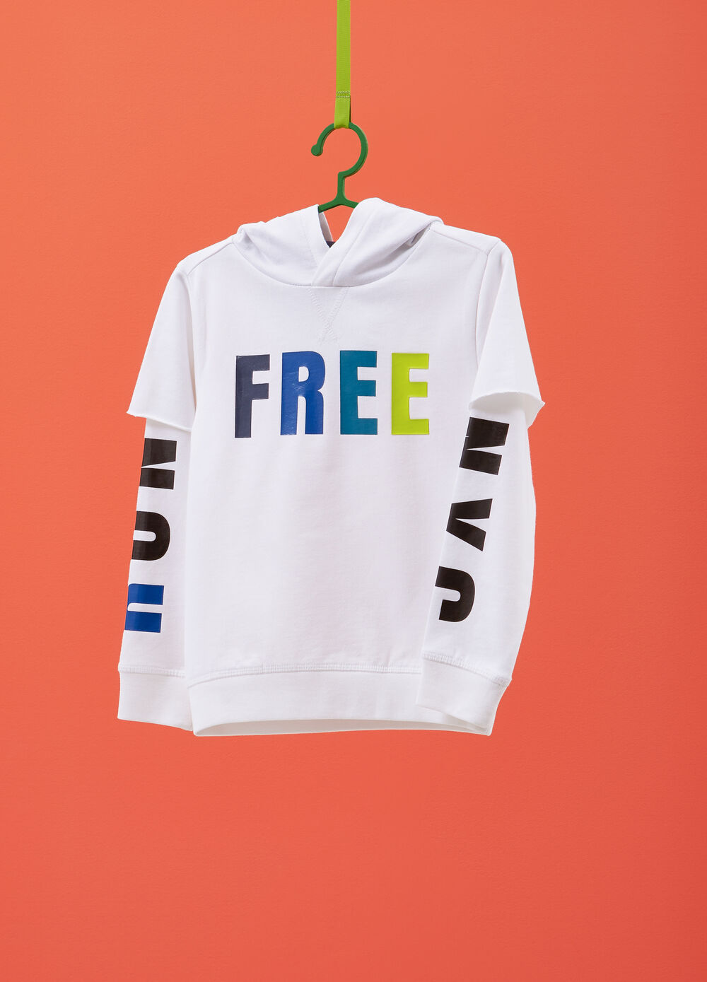 Cotton sweatshirt with faux layer and print