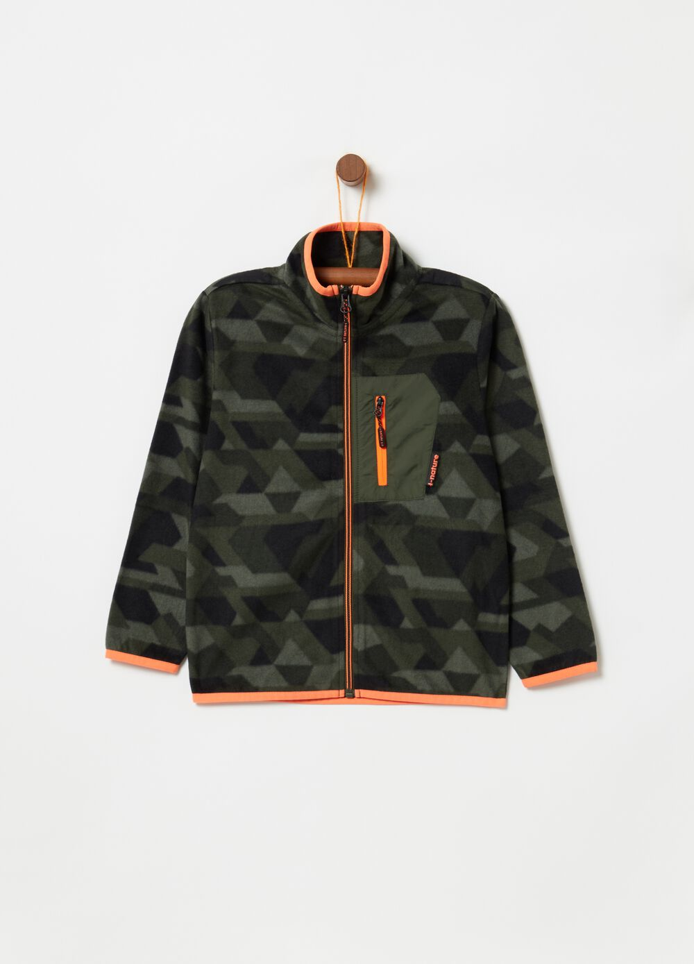 Fleece sweatshirt with camouflage-effect pattern