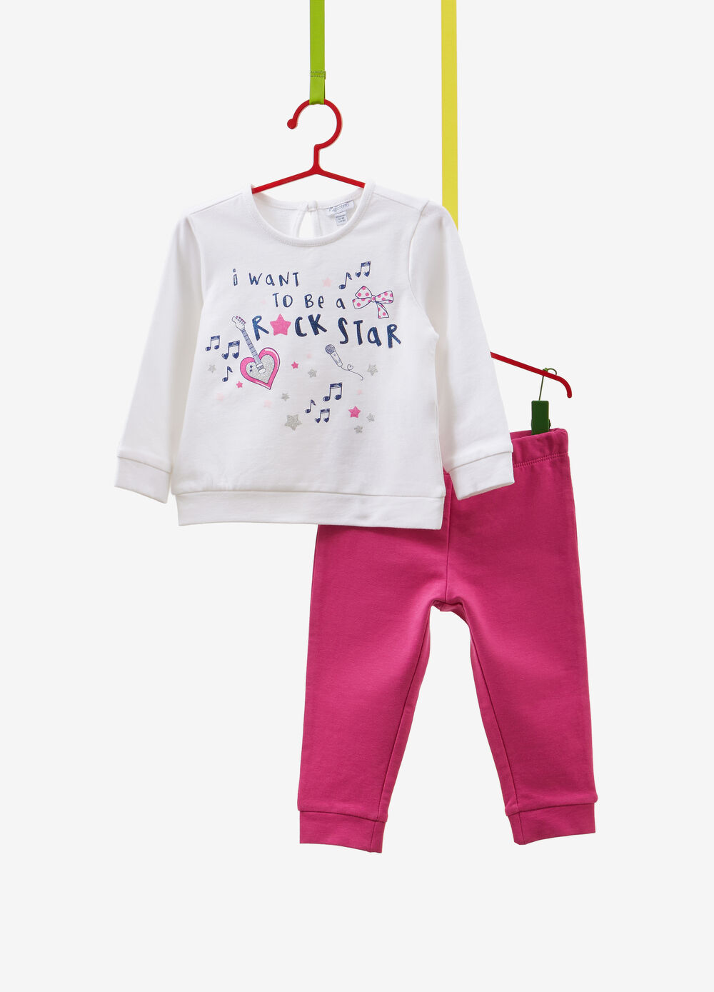 Tracksuit in stretch cotton with glitter print