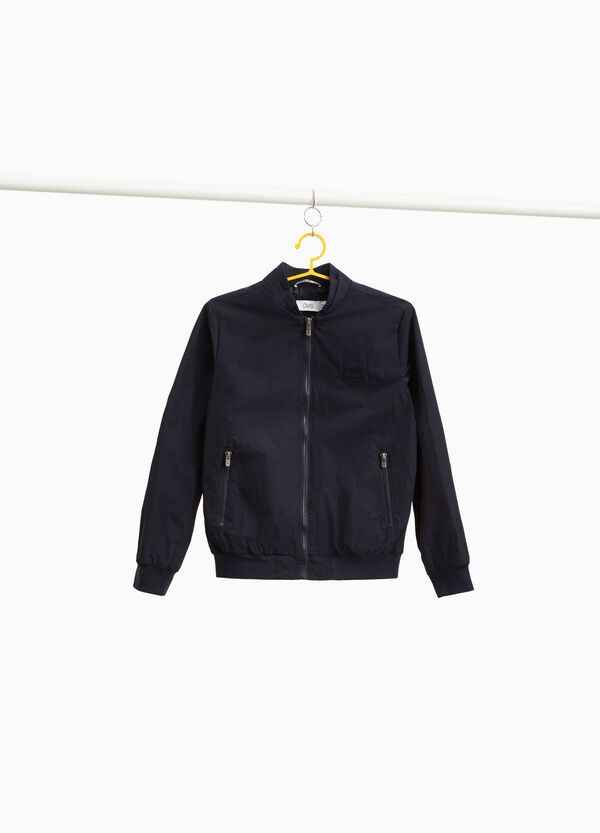 Solid colour bomber jacket with zip