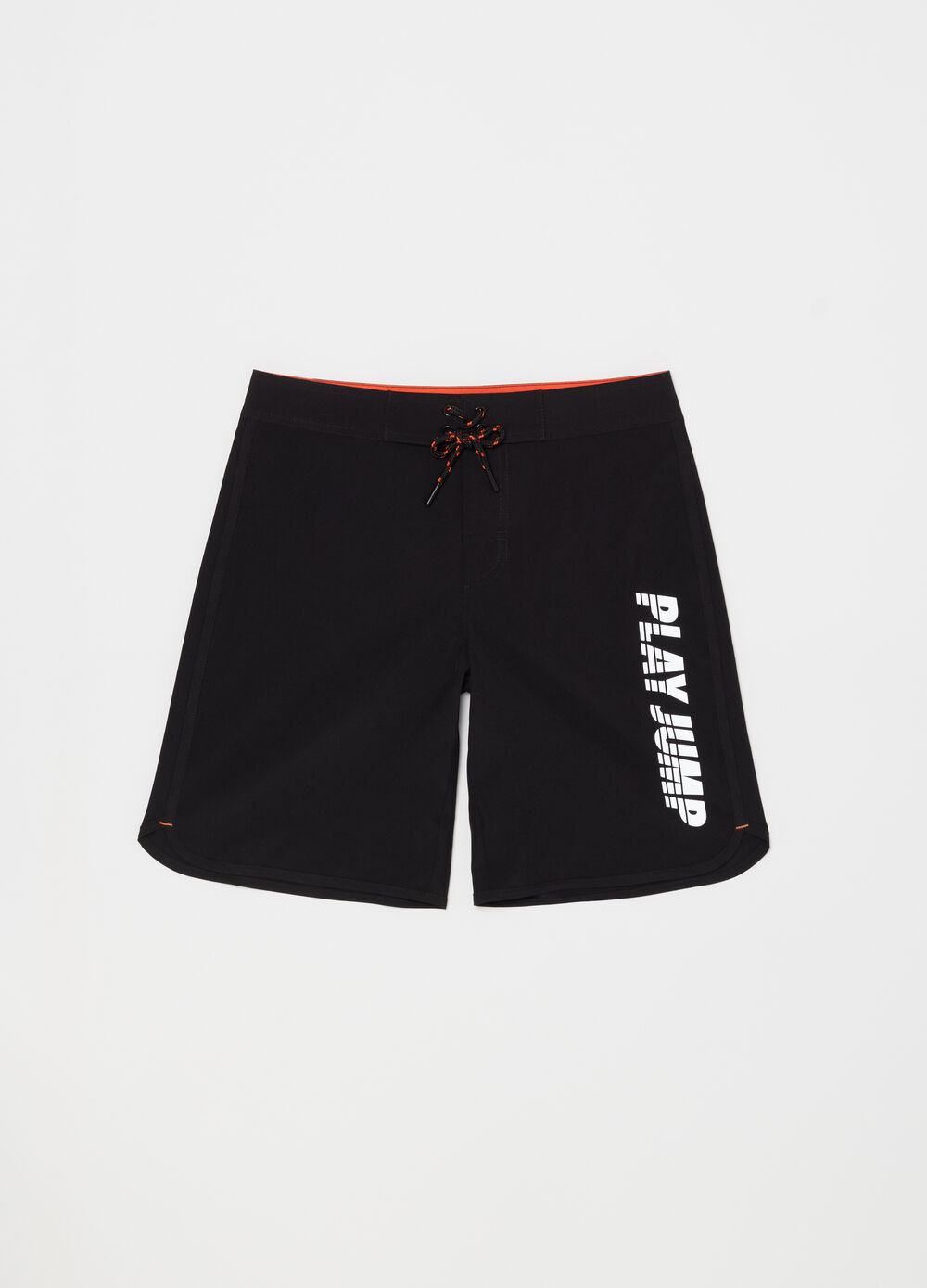 Swim boxer shorts with pocket, print and drawstring
