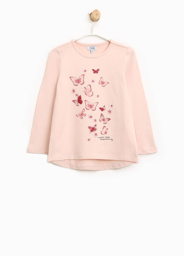 Stretch cotton T-shirt with butterfly print | OVS