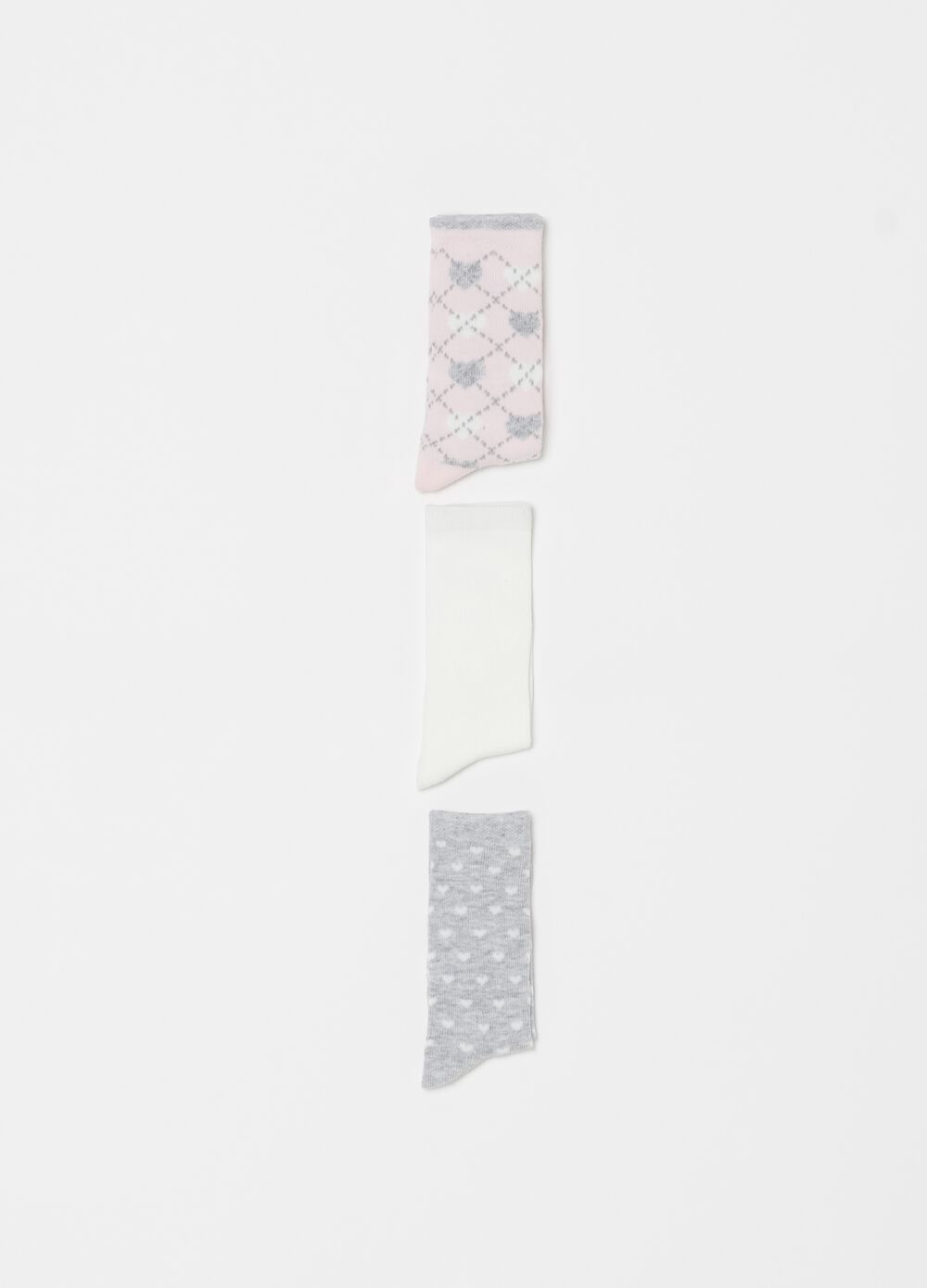 Three-pair pack long socks with hearts pattern