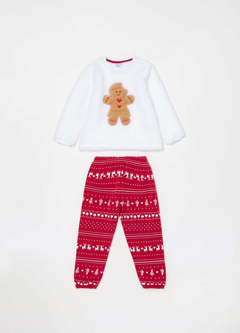 Long pyjamas with Christmas embroidery and pattern