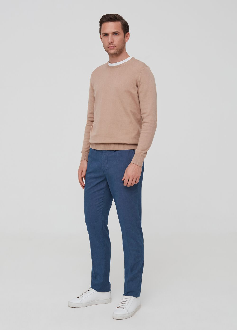 Regular-fit stretch cotton chino trousers