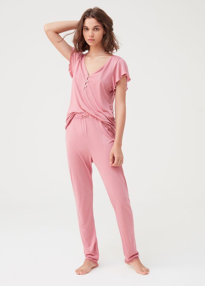 Long pyjama trousers with lace