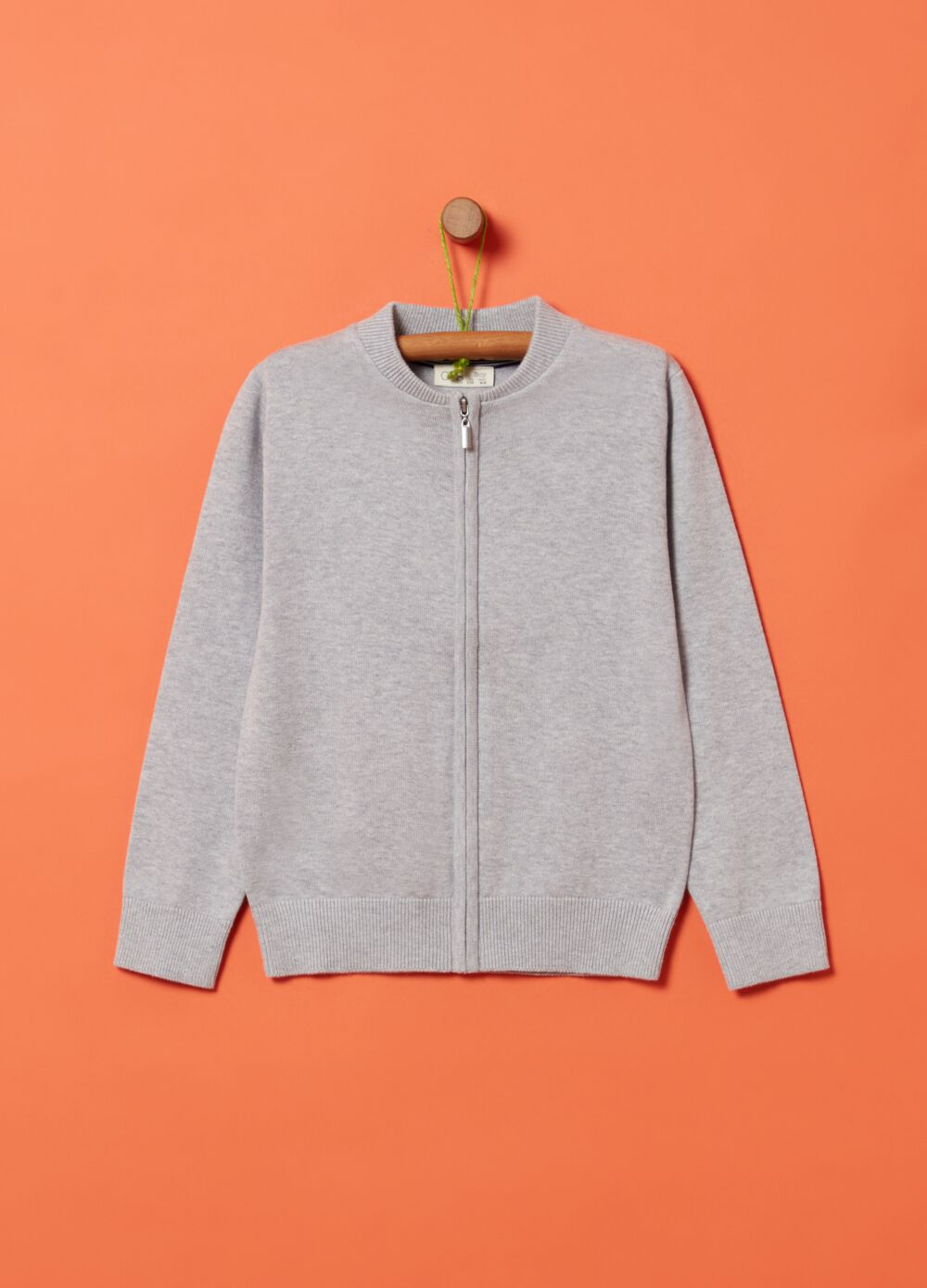 Knitted full-zip sweatshirt in 100% organic cotton