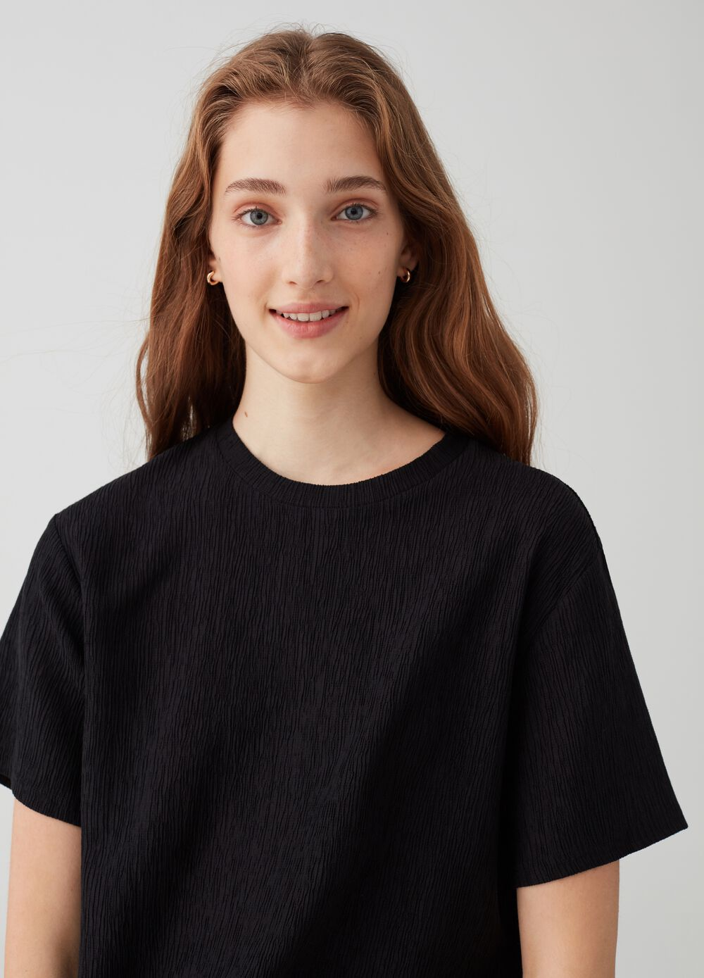 Crop stretch T-shirt with round neck